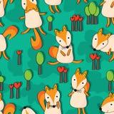 Fox小树无缝的样式 免版税库存照片