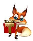 与礼物盒的逗人喜爱的Fox漫画人物 免版税库存照片