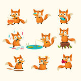 Fox Activities with different emotions. Vector Illustration Set Stock Photo