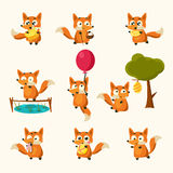 Fox Activities with different emotions. Vector Illustration Set Royalty Free Stock Photo