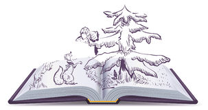 Free Fox And Crow Story. Open Book Fable Illustration Stock Photography - 95953082