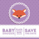 Fox animal baby shower card icon Stock Image