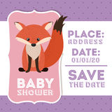 Fox animal baby shower card icon Royalty Free Stock Photos