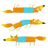 Fox animal character in clothes cartoon set Stock Photo
