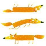 Fox animal character fun cartoon set for kids Stock Image