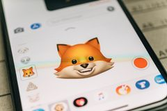 Fox animal 3d animoji emoji generated by Face ID facial recognit. PARIS, FRANCE - NOV 9 2017: Fox animal 3d animoji emoji generated by Face ID facial recognition Stock Photography