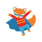 Fox Animal Dressed As Superhero With A Cape Comic Masked Vigilante Character. Part Of Fauna With Super Powers Flat Cartoon Vector Collection Of Illustrations Royalty Free Stock Images