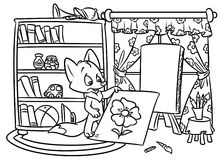 Fox artist coloring pages Stock Images