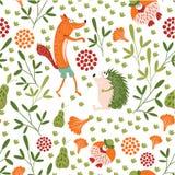 Fox astuto, erizo y Sr. paseo del pájaro en un claro del bosque Modelo inconsútil del bebé de los animales del bosque Fondo para  libre illustration