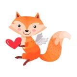 Fox avec Angel Wings Holds Heart dans des pattes d'isolement Image libre de droits