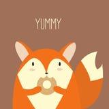 Fox avec le beignet illustration de vecteur