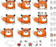 Fox baby ball expression cartoon set Royalty Free Stock Photos
