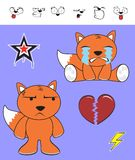 Fox baby cartoon expression set crying Royalty Free Stock Images