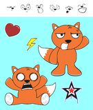 Fox baby cartoon expression set3 Stock Photography