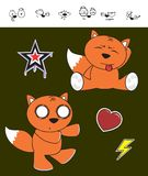 Fox baby cartoon expression set4 Royalty Free Stock Photo