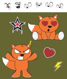 Fox baby cartoon expression set6 Stock Image