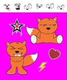 Fox baby cartoon expression set7 Royalty Free Stock Images
