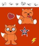 Fox baby cartoon expression set Royalty Free Stock Image