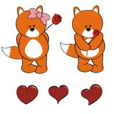 Fox baby cartoon valentine rose set Stock Image