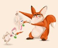 Fox bawić się z królika wektoru postać z kreskówki ilustracji