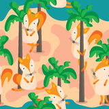 Fox Beach Seamless Pattern Stock Photo