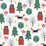Fox, bear, trees and berries seamless pattern on white background. Stock Photo