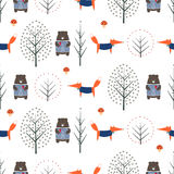 Fox, bear, trees and mushroom seamless pattern on white background. Stock Images