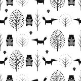 Fox, bear, trees and mushroom seamless pattern on white background. Royalty Free Stock Image