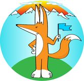 Fox with blue flag, against the backdrop of mountains. stock illustration