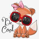 Fox bonito com vidros de sol ilustração royalty free