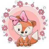 Fox bonito dos desenhos animados do cartão ilustração royalty free