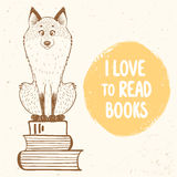 Fox and books Royalty Free Stock Photo