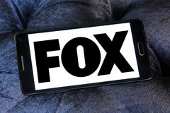 Fox broadcasting company logo. Logo of international broadcasting company, fox on samsung mobile phone Stock Photo