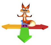 Fox cartoon character with arrow Royalty Free Stock Image