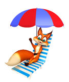 Fox cartoon character with beach chair Stock Photography