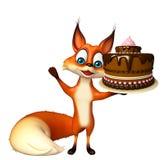 Fox cartoon character with cake Stock Photo