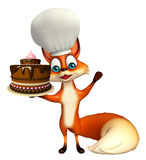 Fox cartoon character with chef hat with cake Royalty Free Stock Image