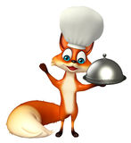 Fox cartoon character with chef hat and cloche Stock Photo