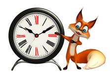 Fox cartoon character with clock Stock Photos
