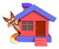 Fox cartoon character with home Stock Image