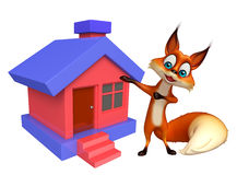 Fox cartoon character with home Stock Photography