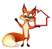 Fox cartoon character with home sign Stock Photo