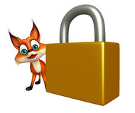 Fox cartoon character with lock Stock Photography