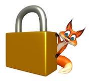 Fox cartoon character with lock Royalty Free Stock Photography