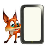 Fox cartoon character with mobile Royalty Free Stock Photography