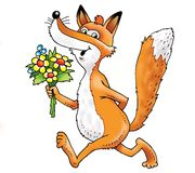 Fox cartoon drawing funny bouquet red Royalty Free Stock Images