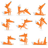 fox cartoon flat style in action set Royalty Free Stock Photos