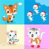 Fox & Cat Stock Image