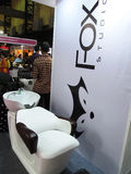 Fox chair exhibition. Exhibition stand of fox at Professional beauty expo,Mumbai Date- 6th oct 2015 stock photos