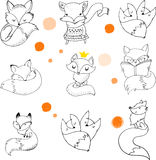 Fox characters, cute, lovely illustrations. Fox characters cute, lovely illustrations - greeting cards Stock Images